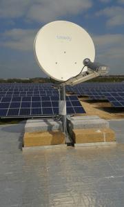 Satellite dish in a solar panel field